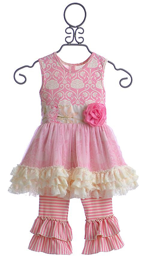 2017 Remake Kids Pink Floral Sleeveless Tunic Lace Trim Ruffle Smocked Dress & Leggings Clothes Set Boutique Baby Girls Outfits