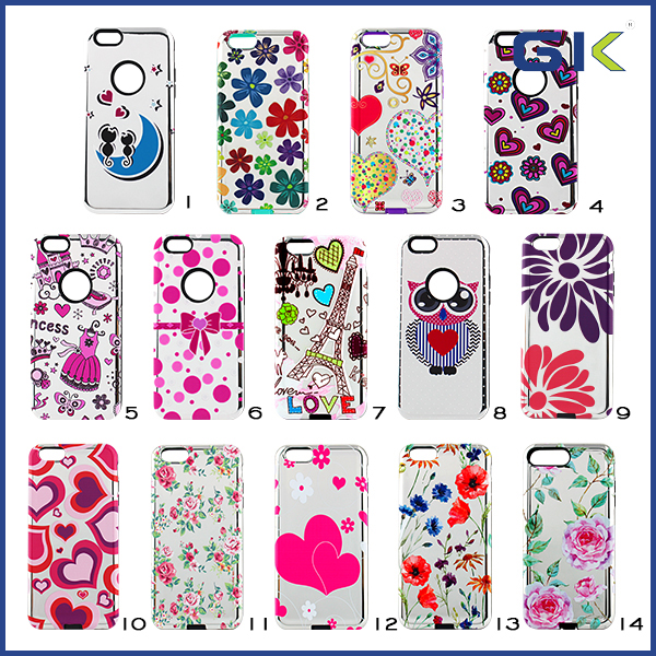 [GGIT] Luxury Turtle Grain With Patterns 2 in 1 TPU+PC Phone Cover For IPhone 6 Combo Case