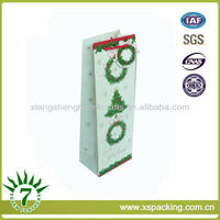 Fancy Style Custom Made Merry Christmas Wine Bottle Packing & Printing Gift Paper Bag With Red Cord Handle