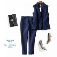 B21502A Womens High-grade new suit collar VEST blouse + fashion pants suit