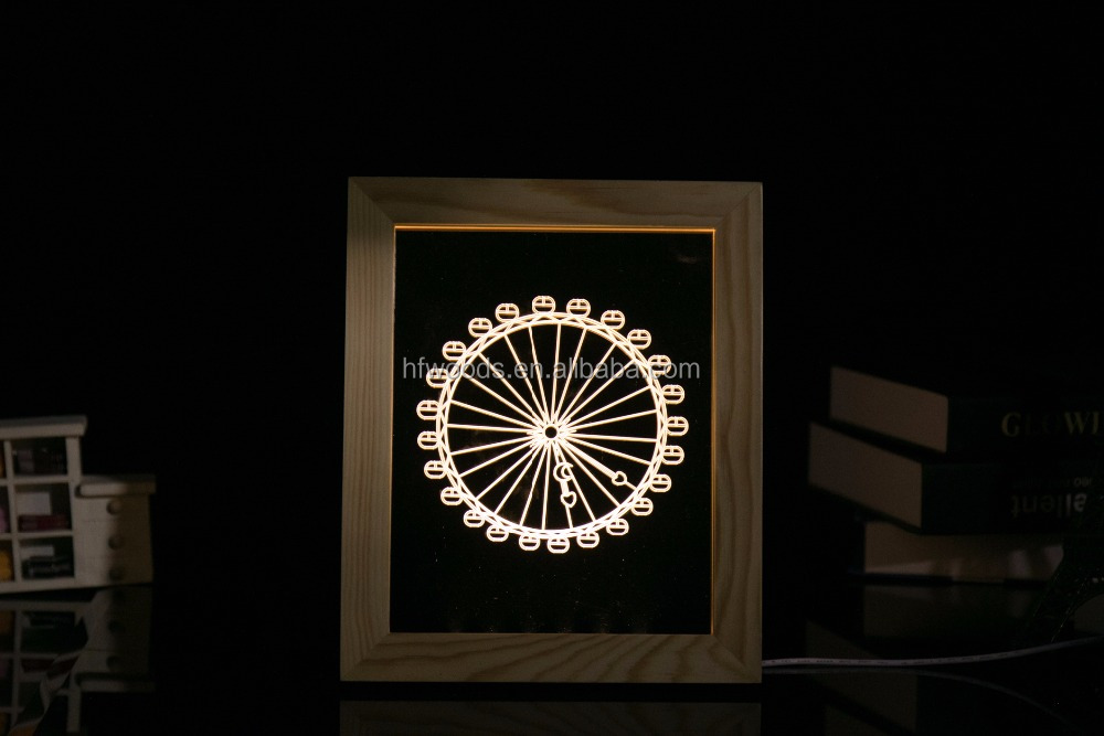 American Style Ferris Wheel LED Acrylic Night Light Solid Wood Frame