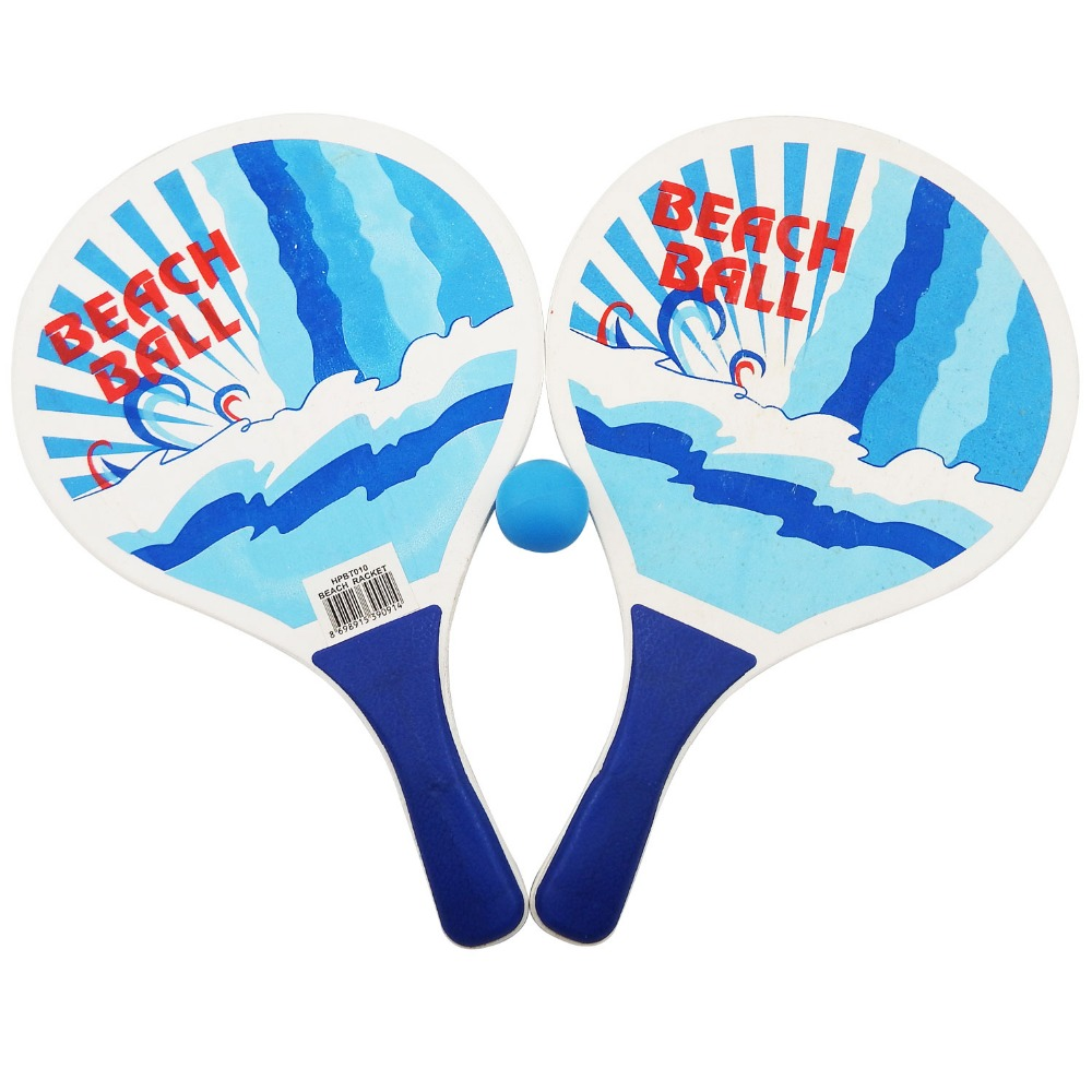 Promotional wood beach racket with ball for outdoor sports