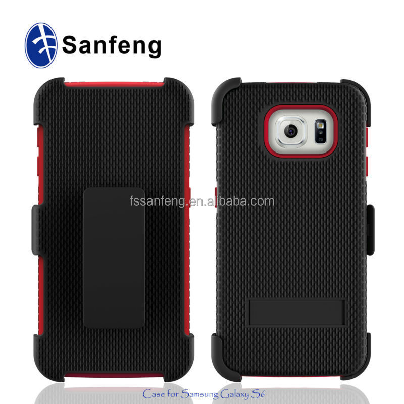 For SM-G920T,SM-G9200,SM-G920P PC+Silicon Hybrid Combo Belt Clip Holster Heavy Duty Case With Kickstand For Samsung Galaxy S6