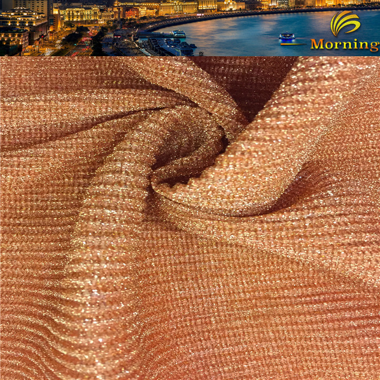 2016 Best Sales Orange Crinkle Metallic Brilliant Fabric Wide Crushed Fabric For Dress