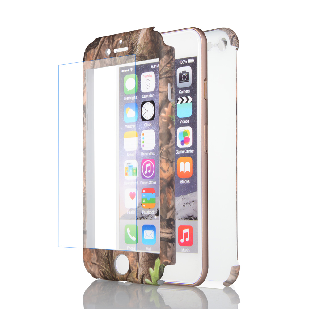 3 in 1 Full PC cover OEM water transfer protective mobile phone cover for iphone 5 SE 6 7 case 360 with tempered glass
