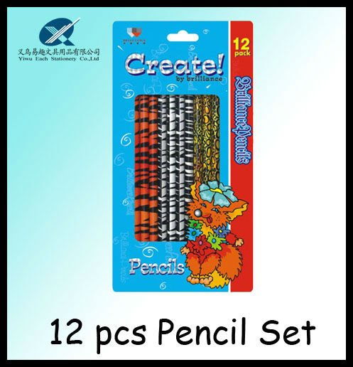 2012 hot sales 7inch hot transfer parinting cartoon pencil set with eraser top 12 pieces gift stationery set