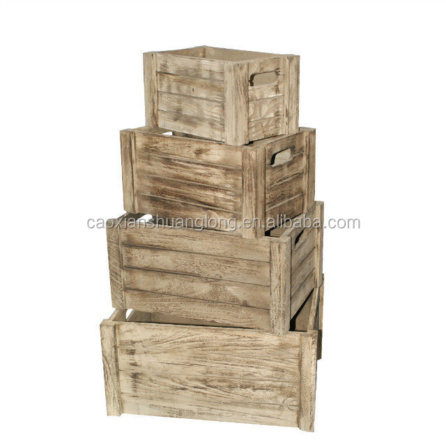 Rustic handmade wooden crates for fruits and vegetables with roast color wholesale