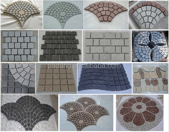 Hot Sale Paving Stone &Natural Split Granite Paver on Mesh, Grey Black Stone Cobblestone for Landscaping and Garden & Tumble Gre