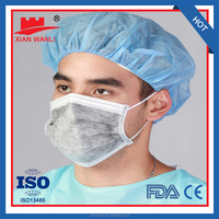 4 ply ear loop activated carbon face mask ISO/FDA/CE/NELSON standard with low resistance to breathing