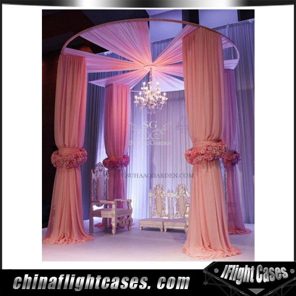 Round pipe and drapes for wedding backdrop panel