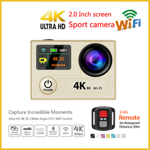 Dual screens wifi Yi 4k video camera professional sports action cameras remote control 30M driving waterproof H8R