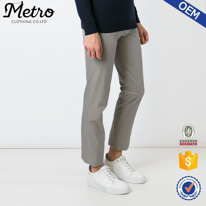 Hot sales new design grey cotton slim fit chino trousers pants for men