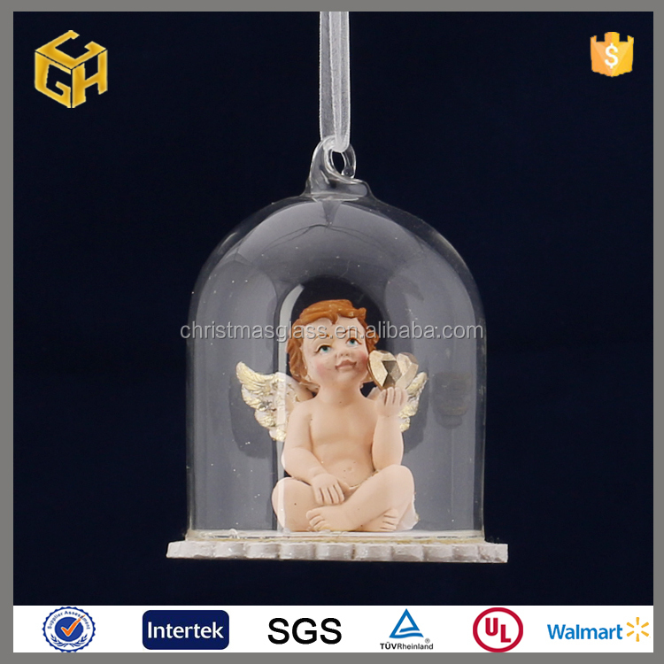 Hot sale clear glass bauble with angel ornaments bulk