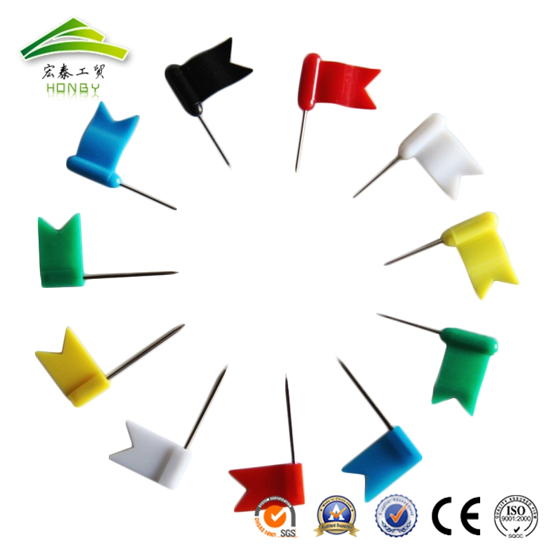 Office Necessities 30mm Assorted Color Flat And Wave Shape Flag Map Pin