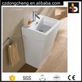 C3964 Modern design hotel sink one piece ceramic square pedestal basin