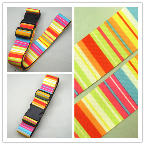 custom Polyester yellow stripe baggage luggage belt straps