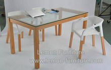 Top level manufacture natural wood glass top dining table