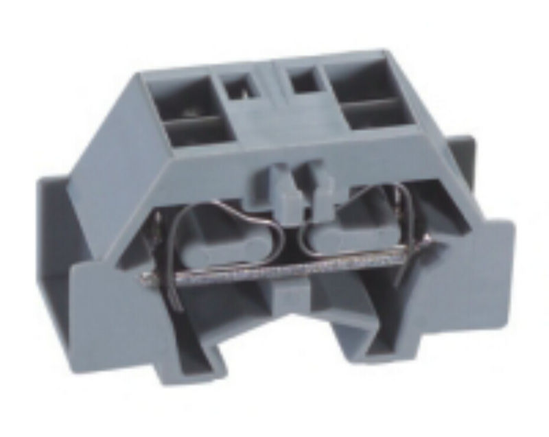 2 wires through end terminal blocks with snap-in mounting wedge connector