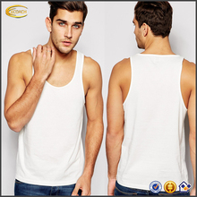 Ecoach Wholesale OEM Soft-touch jersey white Scoop neck top 2016 Classic Fit 100 cotton bodybuilding mens tank top for summer