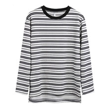 Wholesale 60% cotton 40% polyester long sleeve comfortable black white striped men t-shirts