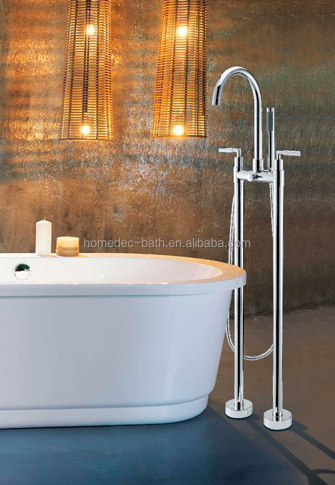 classical dual handles tub and shower faucet floor standing bathtub mixer brass chrome finish for bathroom