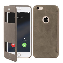 Double sliding window mobile phone leather case for iphone 6