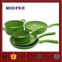 Home Kitchen Cooking 5 Piece Nonstick Green Color Soft handle Cookware Set
