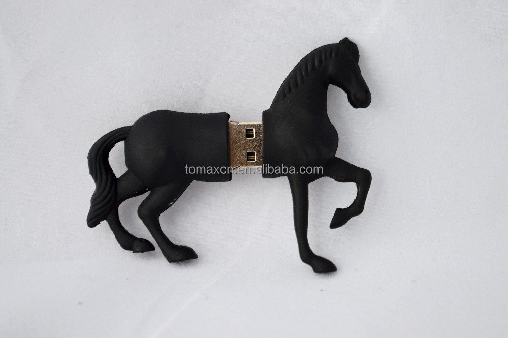 Innovative gadget black Horse shape usb stick wholesale anime figures