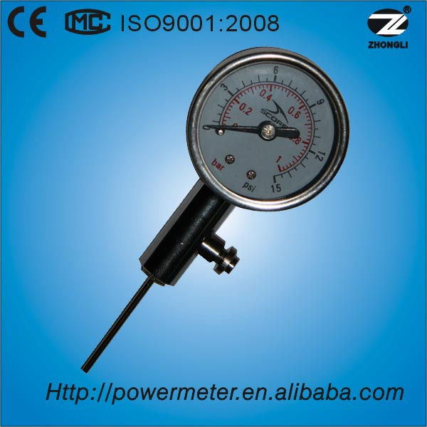 (YT-40) 40mm 1.5 inch face diameter ball pressure gauge with double marking bar and psi