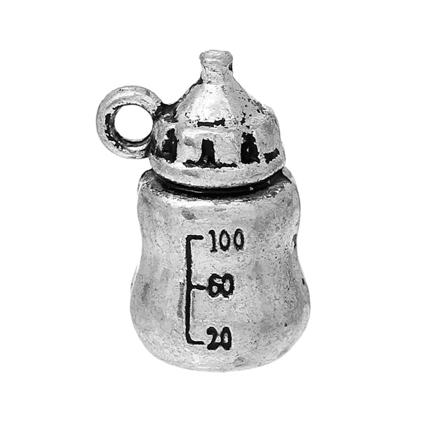 Charm Pendants Milk Bottle Antique Silver 19.0mm x 13.0mm