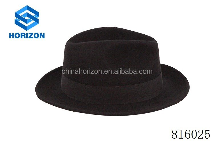 China manufaturer free sample woolen hat felt custom black fedora hats