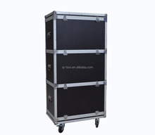 Custom made stacked aluminum flight case with wheels