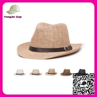 paper straw mens wide brim straw sun hat wholesale custom made fedora straw hat with leather band