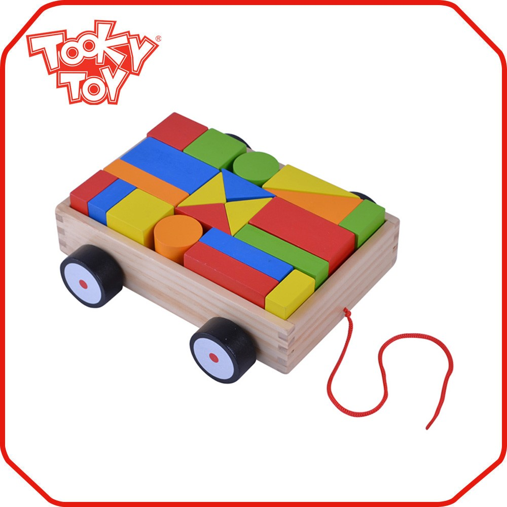 TOOKYTOY Brand Mini Wooden Pull Toy Block Pulling Cart <strong>Game</strong>