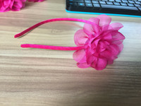 Factory out handmake metal cloth winding pink flower hair clasps hair band