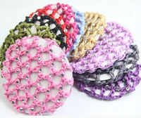 Cute Beautiful Bun Cover Snood Hair Net Ballet Dance Skating Crochet with Diamond