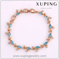 72287 Best Sale Zircon Xuping Jewelry Rose Gold Colour Lady's Charm Bracelet