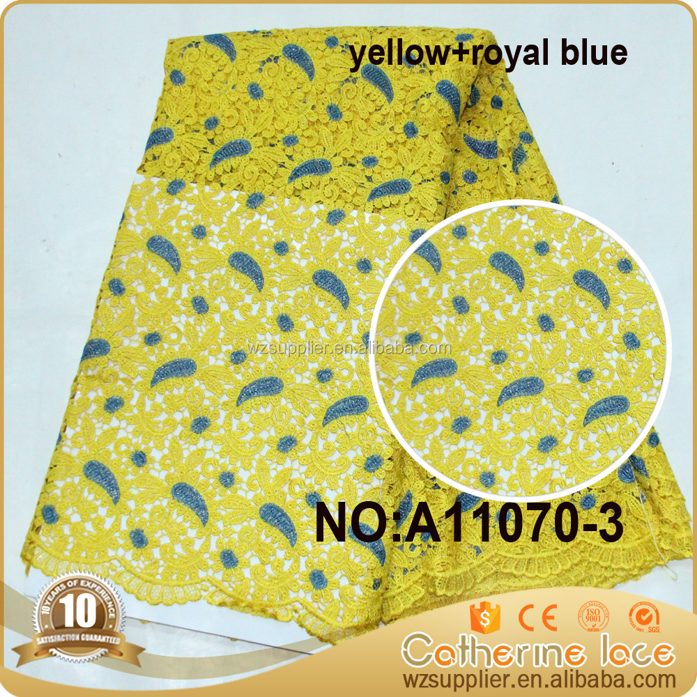 "100% Polyester Materials Yellow Leaf Embroidery High Quality Lace Fabric For Wedding Dress/ Fashion 51-52"" Italian Lace Fabric"