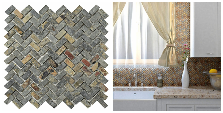 Decorstone24 Natural Sunset Slate Mosaic Wall Tile Fireplace Backsplash Sheet