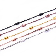 fashion trends latest design 0.2mm couple bead chunky chain with thin chain women chain necklace
