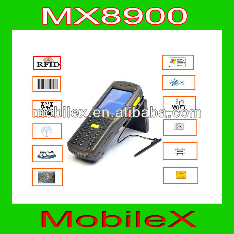 Rugged Industrial Hand held Fingerprint mobile computer terminal PDA with WiFi LF RFID reader and GPS (MX8900)