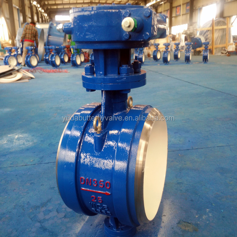 WCB DN350 PN25 Gear operated Triple Eccentric Butt Welded Price Butterfly Valve