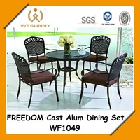 WF1049 outdoor used aluminum furniture dining set table and chair