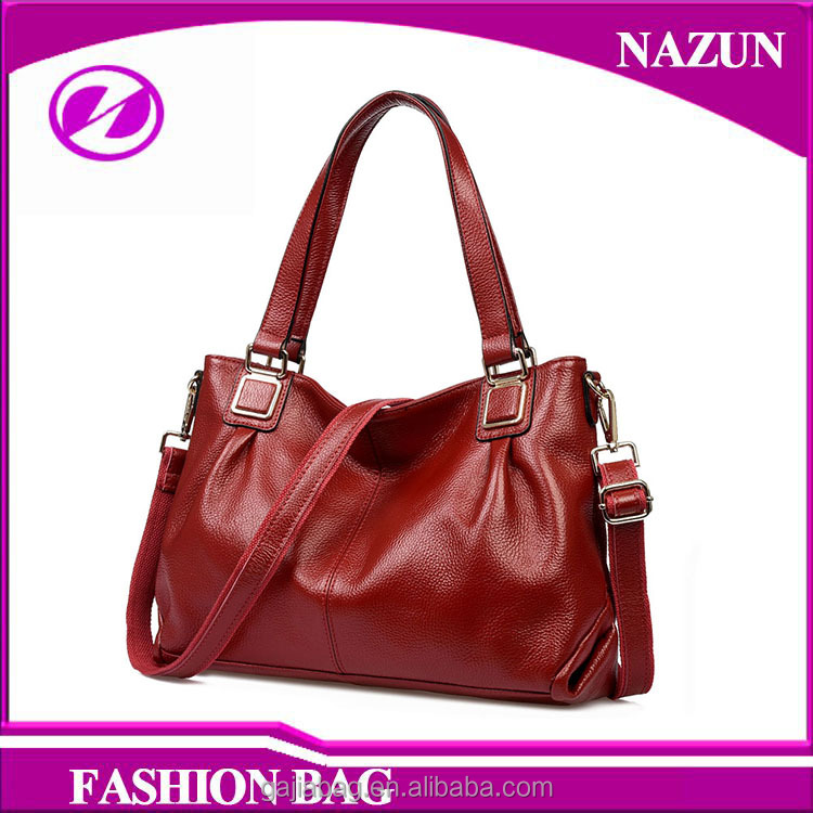 Red Double Top Handles Striped Genuine First layer Leather leather Lady Hand Bag