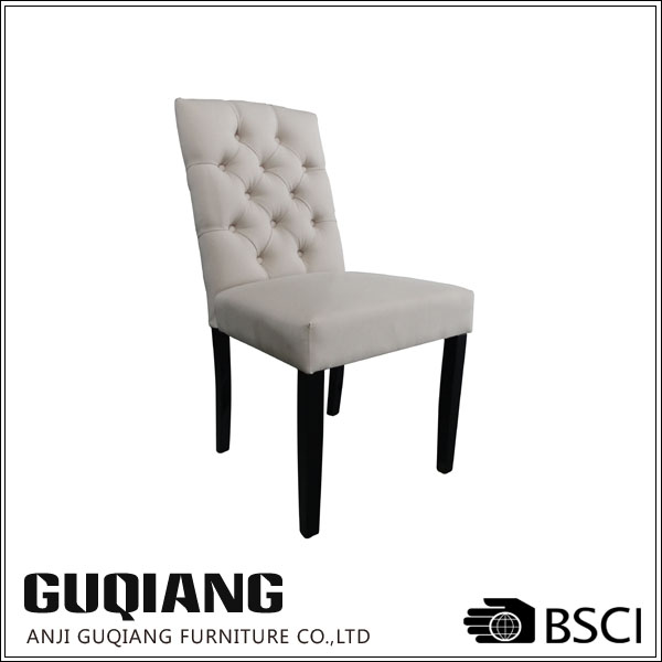 Armless High Back Lint Fabric Tufted Wooden Dining Room Chair