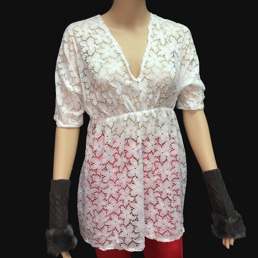 Real Sample Picture Good See Through Quality Women Lace Tops middle sleeve crochet tops