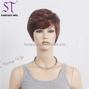 Cool Fashion Women Wig Short Brown Synthetic Hair Buzz Cut Wig With Side Bang