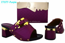 Latest Purple Ladies Wedding Shoes and Bag to Match with Colorful Stones (IT077)