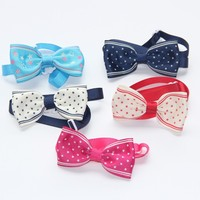 1CM Star Dot Print Ribbon Cat Collar Dog Bow Tie More Color for Choose Pet Collar Hand Make V1146