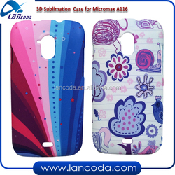 china cheap design 3D sublimation case mobile phone cover for Micromax A116,3d vacuum transfer machine